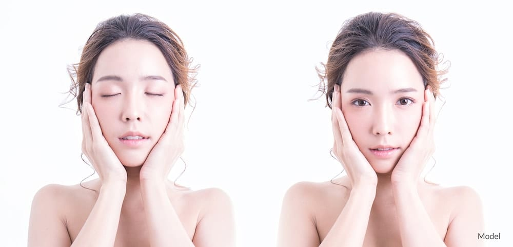 Model of asian descent with open and shut eyes. Side by side view.